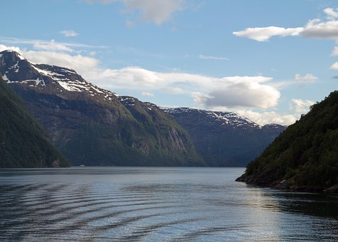Fjord, Norway, Geiranger, Water, Sea, Sky, Clouds