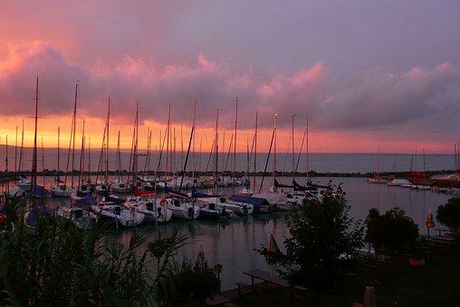 Lake Balaton, Sunset, Boats, Masts, Hungary, Sailboats