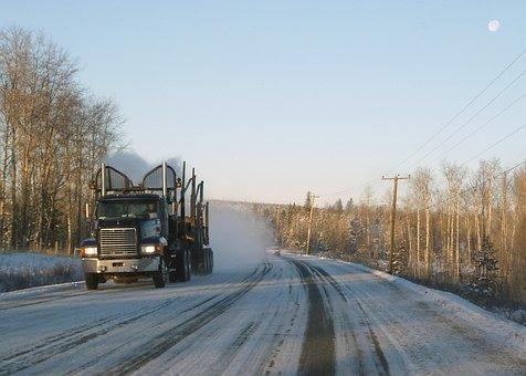 Logistics, Logging, Truck, Transportation, Snow Covered
