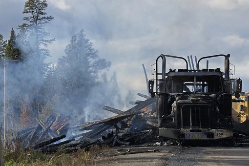 Logging, Truck, Road, Accident, Fire, Burning, Flames
