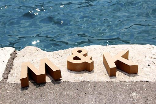 M And K, Water, Bank, Letters, Wood