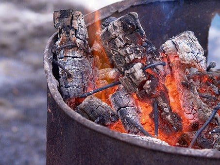Oil Drum, Old Drum, Barrel, Fire, Wood Fire, Charcoal