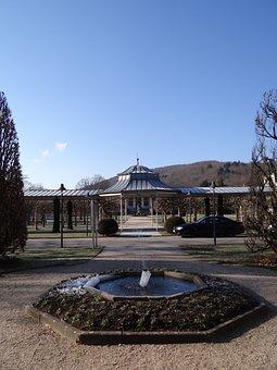 Sun, Sky, Blue, Autumn, Fountain, Water, Schlossgarten