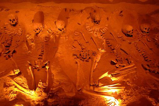 Skeleton, Grave, Burial, Orange, Skull, Death, Bone
