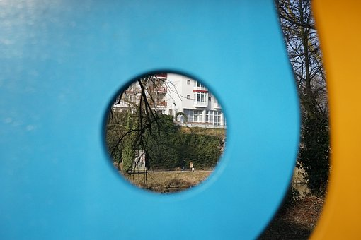 By Looking, See Through, Hole, Wall, Wood, Blue, Orange