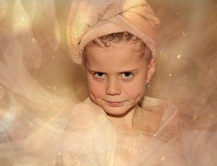Child, Girl, Face, Towels, Sauna, Fog, Glitter, Steam