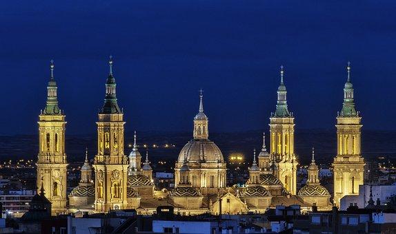 Saragossa, Pillar, Night, Cathedral, Church, Spain
