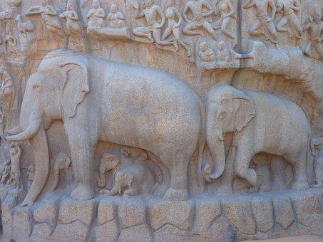 Elephant, Relief, Descent Of The Ganga, Mahabalipuram