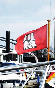 Hamburg, Maritime, Port, Hamburgisch, Flag Of Hamburg