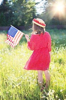 Fourth Of July, American Flag, Pretty Woman, Usa