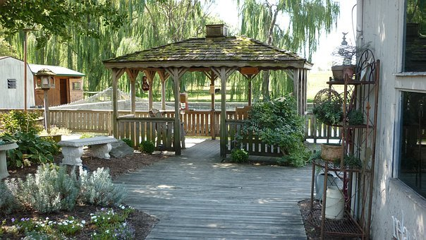 Gazebo, Deck, Shade, Patio, Trees, Relaxation, Outdoors