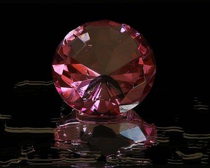 Pink Diamond, Round Cut, Gem Stone, Cut Glass, Facets