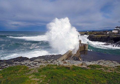 Rinlo, Ribadeo, Lugo, Spain, Sea, Wave, Cliffs, Storm