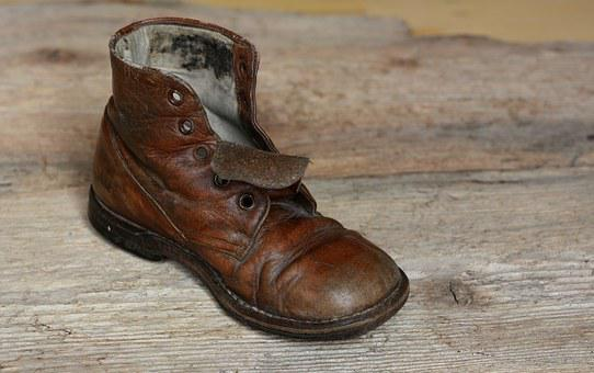 Shoe, Leather Shoe, Age Shoe, Brown, Worn, Used, Old