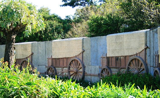 Ox Wagon, Relief, Depiction, Wall, Granite, Laager