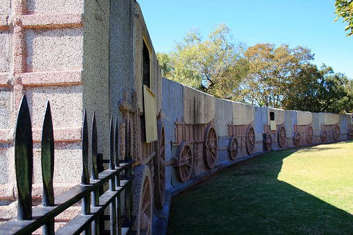 Wall, Ox Wagon, Relief, Fence, Depiction, Granite