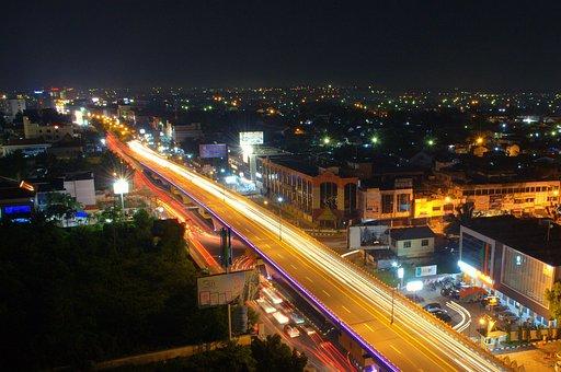 Flyover, Bridge, Light, Night, Road, Architecture