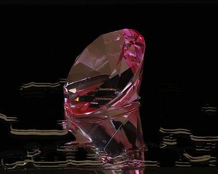 Pink Diamond, Round Cut, Gem, Pink Glass, Facets