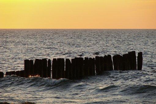 Sea, Gulls, Breakwater, Sunset, Baltic Sea, Horizon