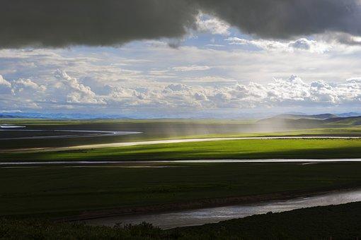 River, Grassland, Prairie, Landscape, Nature, Sky