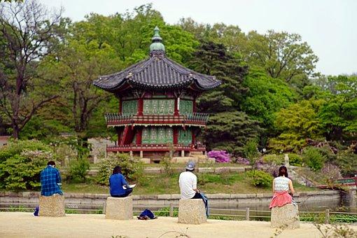 Gyeongbok Palace, Nature, Man, Student, Figure, Scenery