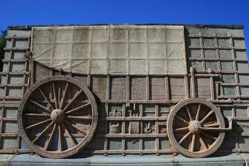 Ox Wagon, Relief, Wagon, Depiction, Wall, Granite
