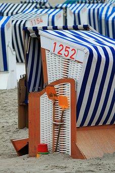 Beach Chair, Beach, North Sea, Wind Protection, Sand