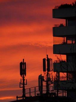 Antennas, Transmitter, Radio System, Afterglow, Sunset