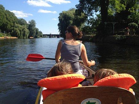 Boating, Canoeing, Alster, Hamburg, Paddle, Girl, More