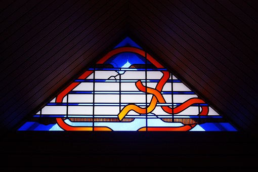 Architectural, Contemporary, Stained Glass Window
