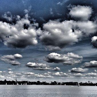 Sky, Clouds, Blue, Alster, Hamburg, Lake Boats, Tourism