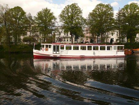 Hamburg, Alster, Boot, Water, Scalloped Edge