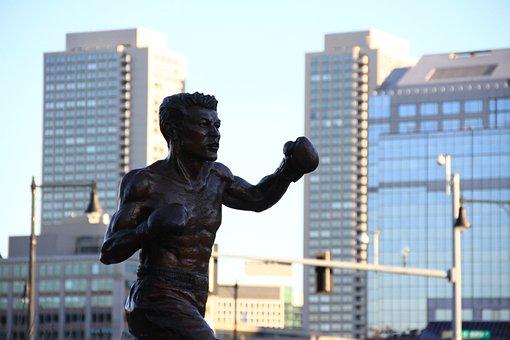 Boxer, Fight, Wooden Boxes, Boxes, Sculpture, Monument
