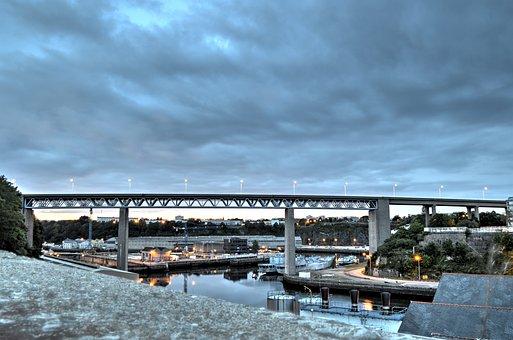 Bridge, Evening, Reflections On The Water, Twilight
