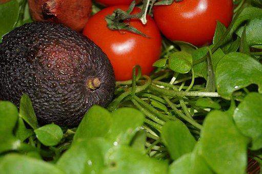 Avocado, Postel Eien, Portulak, Tomato, Eat, Salad