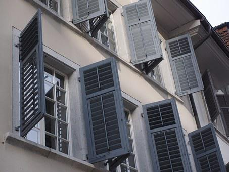 Shutters, Window, Building, Open, Home, Facade, City