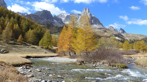 Landscape, Alps, Nature, Mountain, Fall, River, Trees