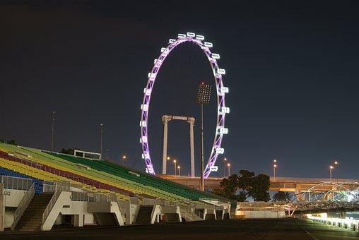 Singapore, Flyer, Ferris Wheel, Eye In The Sky, Night