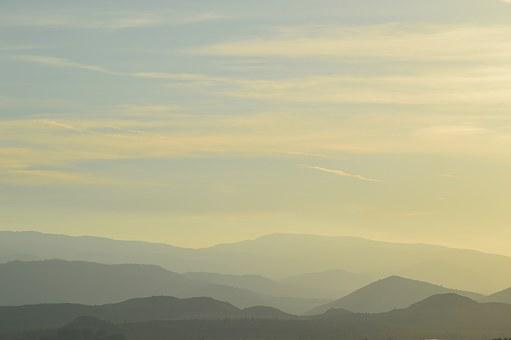 Mountains, Fog, Sunset, Mountain Landscape, Landscape