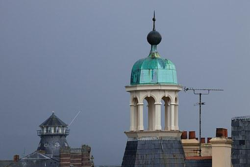 Tower, Great, Copper Roof, Columnar, Antenna