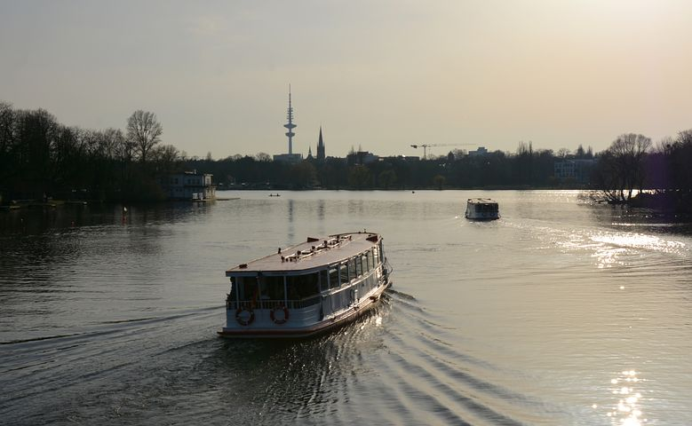 Hamburg, Alster, Mood, Ships, Abendstimmung