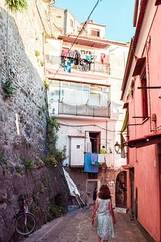 Summer, Italy, Color, Pink, Sorrento, Side Streets