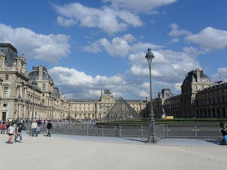 Louvre, Paris, France, Pyramid, The Museum, Monuments
