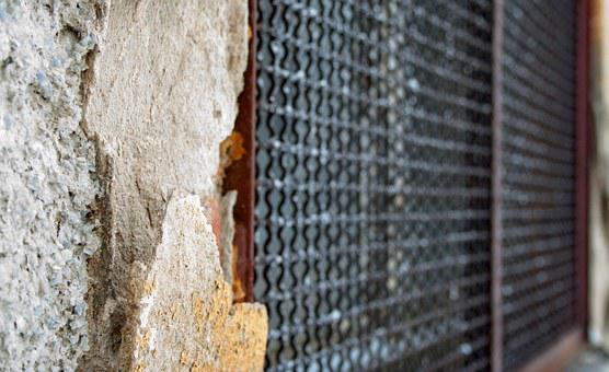 Wall, Home, Old, Facade, Stones, Grid, Prison, Caught