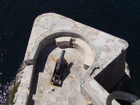 Fortress, Havana, Cuba, Canon, Sea, Old Building