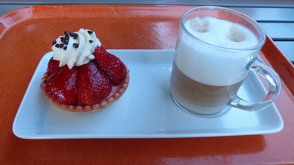 Strawberry Shortcake, Tart, Dessert, Cappuccino, Cream