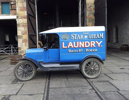 Van, Vintage, Beamish, Laundry, Auto, Advertising