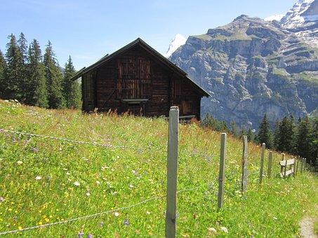 Alps, Lodge, Path, Alpine, Hiking, Mountain, Vacation