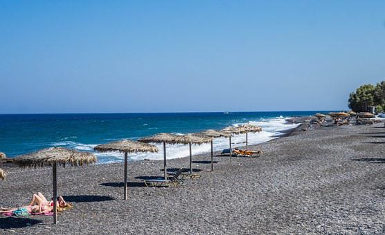 Kamari, Beach, Santorini, Greece, Sea, Sand