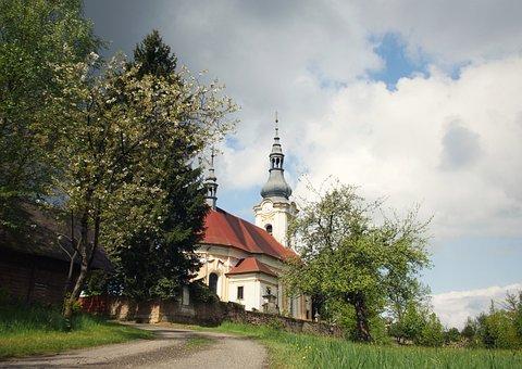 Kytlice, Church, Spring, Tree, Sky, šluknovko, Bohemia